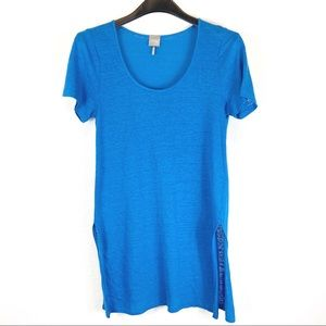 Bobi Blue 100% Linen Swimsuit Cover Up Size S